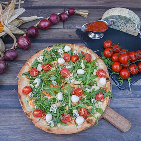 Pizza gorgonzola con rucola